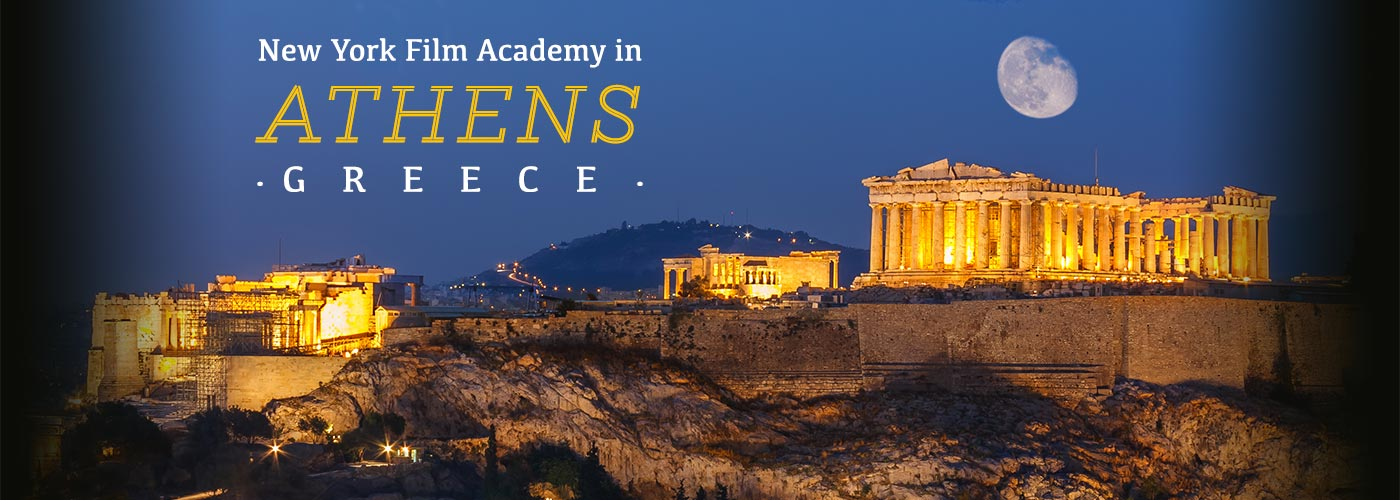 The Acropolis is lit under a gibbous moon to announce NYFA programs in Athens, Greece.