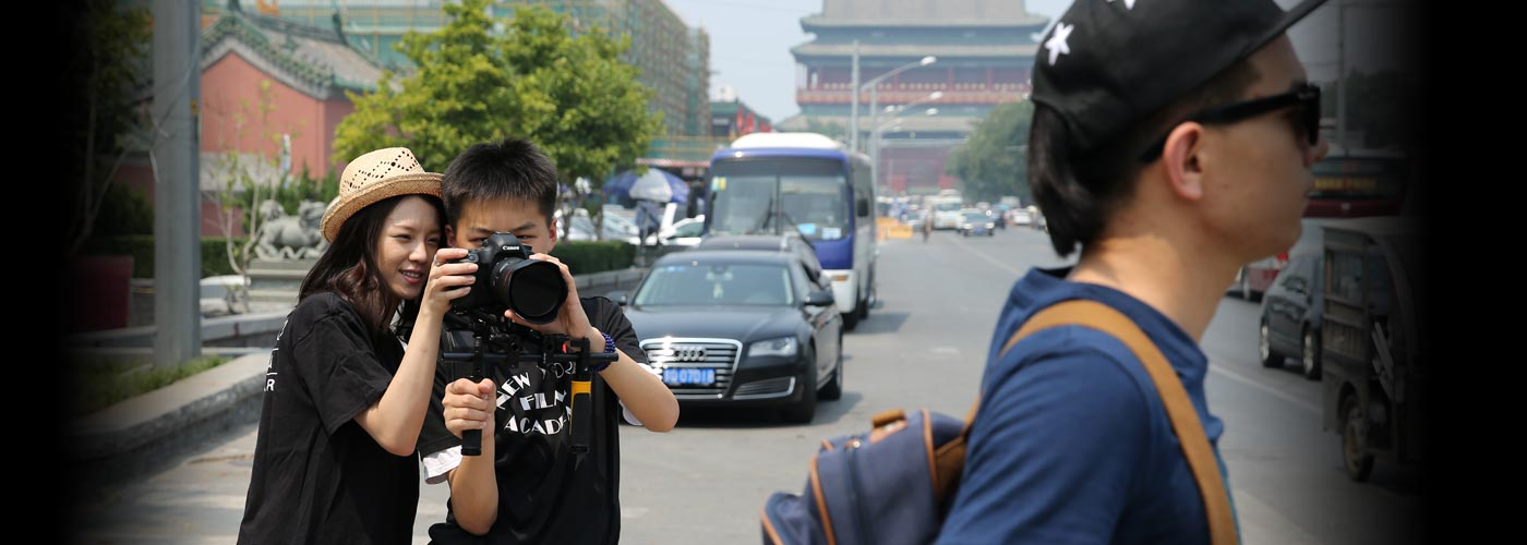 Students film in the streets of Beijing