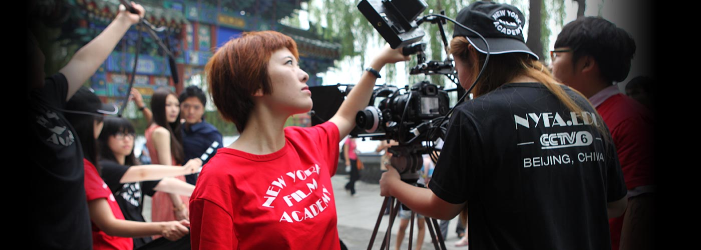 Students film a scene at NYFA Beijing