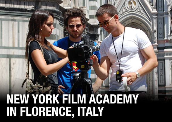 Students learning to operate the camera at New York Film Academy
