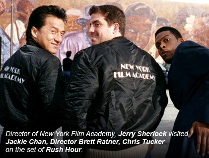 Director of New York Film Academy, Jerry Sherlock visited Jackie Chan, Director Brett Ratner, Chris Tucker on the set of Rush Hour.
