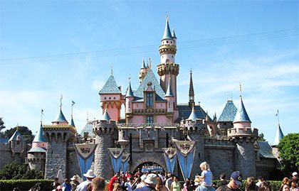 The castle at Disneyland in Los Angeles