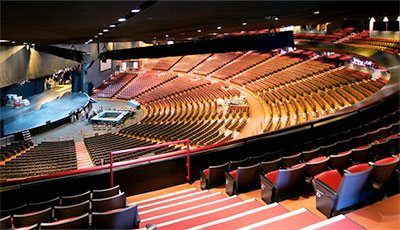 The interior of the Gibson Amphitheatre in Los Angeles