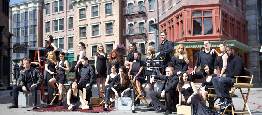 NYFA Los Angeles students pose on Universal Studios backlot