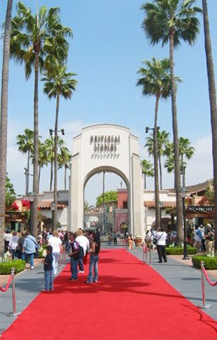 Visitors entering Universal Studios in Los Angeles