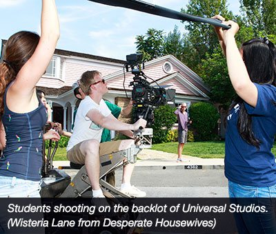NYFA students shooting on the backlot of Universal Studios