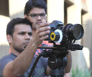 NYFA students work with a RED digital camera