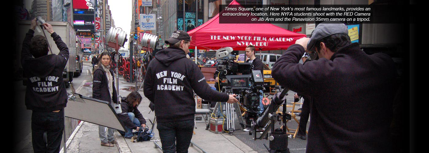 NYFA students shoot with the RED Camera in Times Square