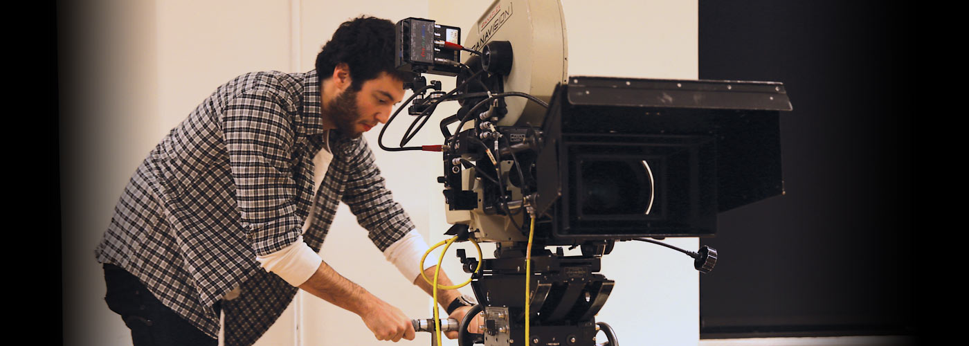 Cinematography school student using a Panavision camera