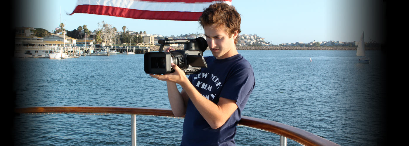 A NYFA documentary school student shooting footage by the water