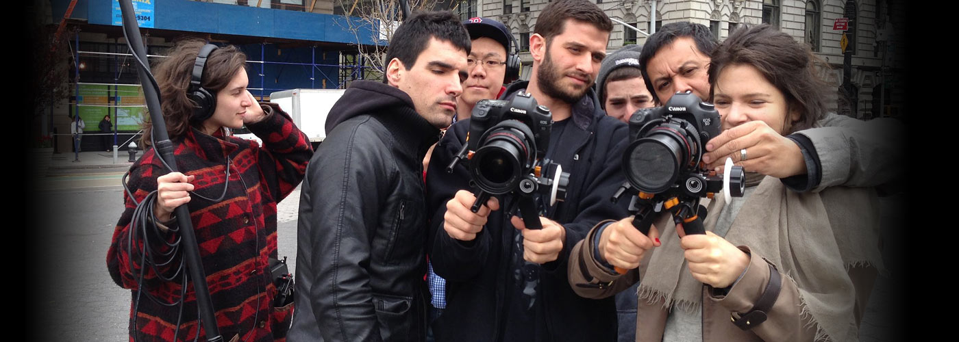 A group of NYFA documentary students with camera
