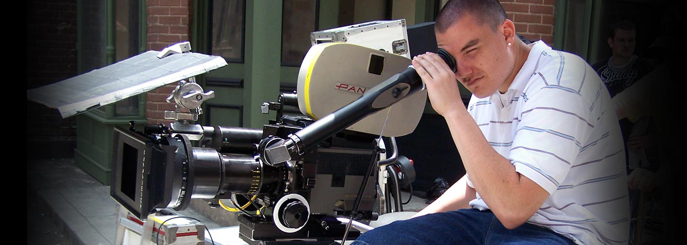 Film school student shoots scene on Panaflex camera