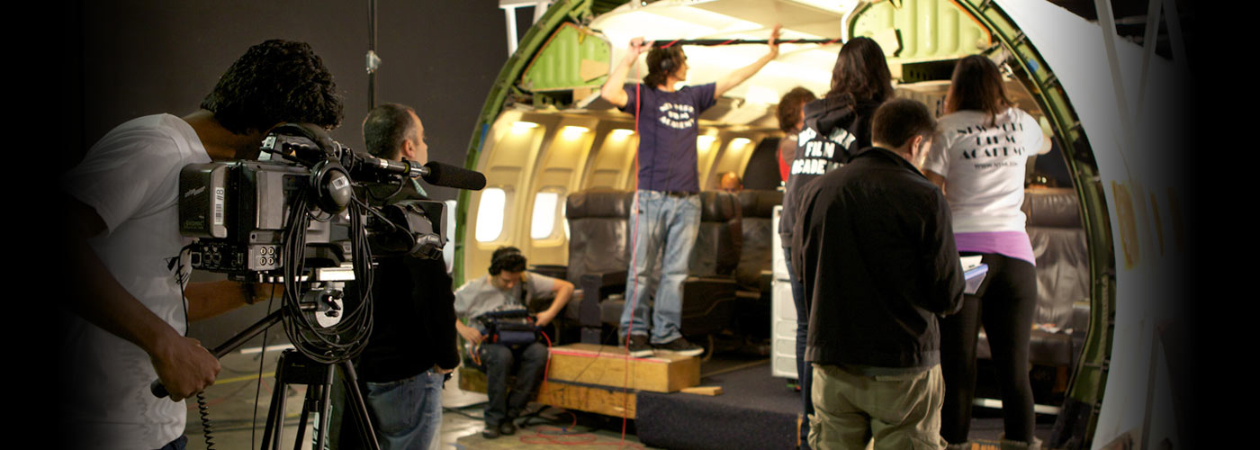 NYFA students film in an airplane at producing school