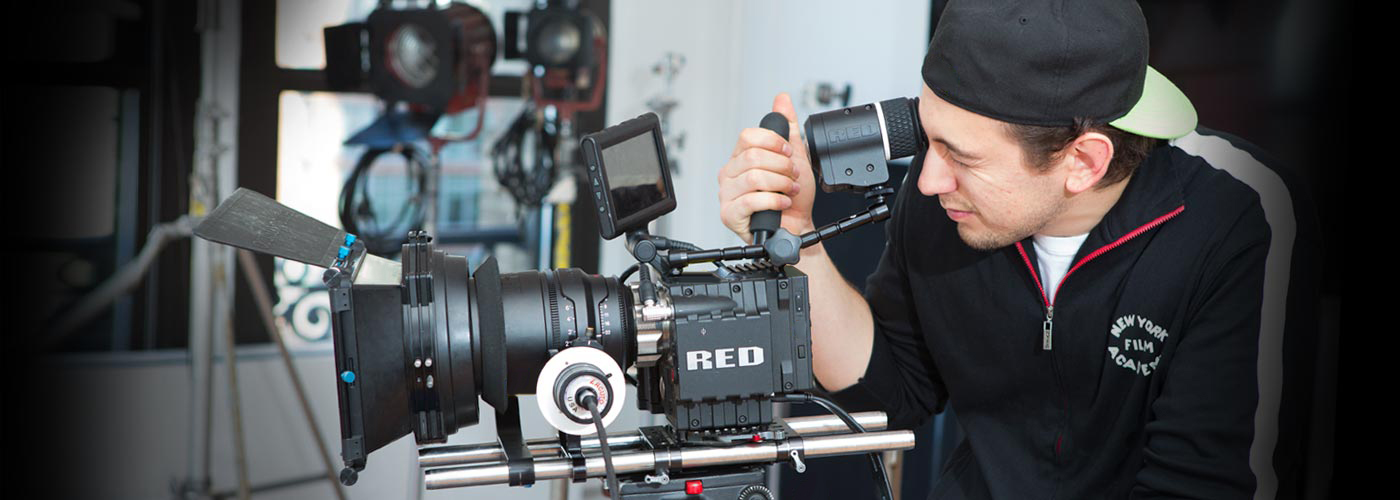NYFA student operating a Red One digital camera