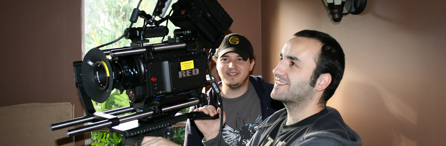 Students film a scene with the Red Epic camera