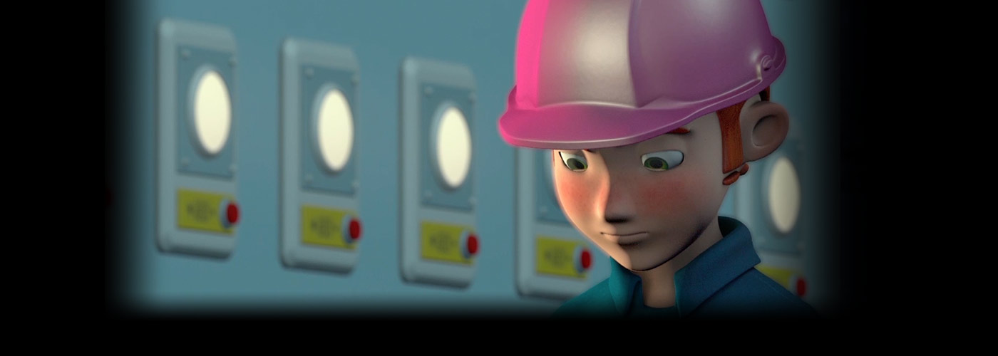 Still from a NYFA 1-year animation student project, with a character in a pink hard hat standing in front of an industrial light board.