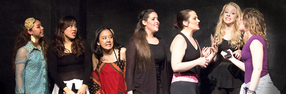 Students at NYFA's Musical Theatre Workshop rehearse on stage
