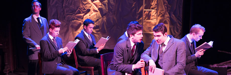 Male NYFA Musical Theatre School students performing Spring Awakening
