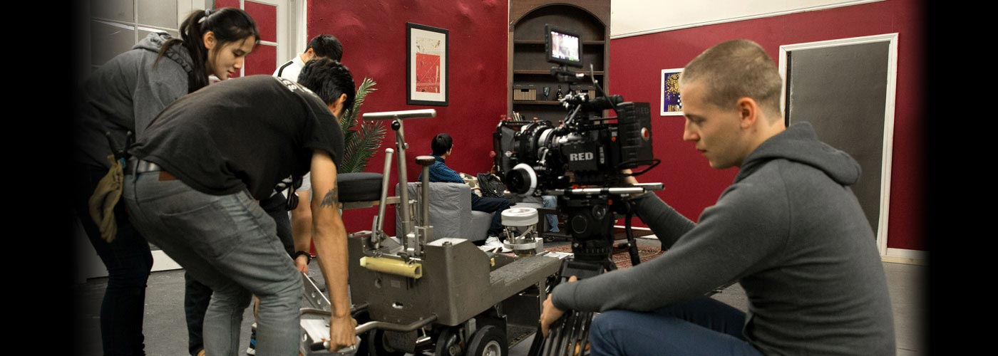 NYFA MA Producing students work with a RED camera