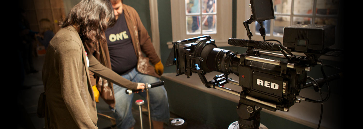 Cinematography school students using the Red camera