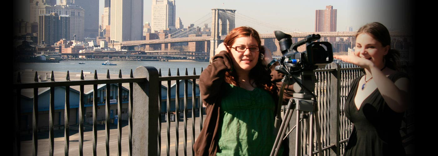 Documentary school students filming by the Brooklyn Bridge