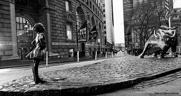 Fearless Girl Statue Near the NYFA New York Campus