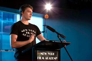 Current NYFA-AU Acting Student, Jackson Price, addressing the audience.
