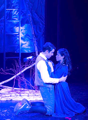 NYFA musical theatre students embrace in scene from Spring Awakening