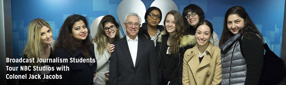 Broadcast Journalism Students Tour NBC Studios with Colonel Jack Jacobs