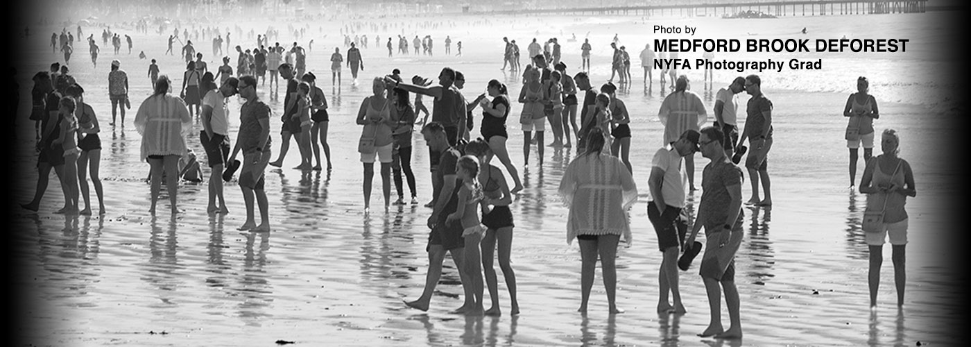 Black and white crowded beach by medford brook deforest
