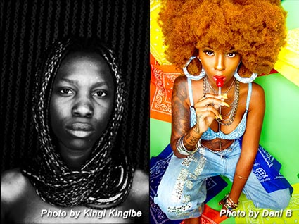 a photo of a tribal woman by kingi kingibe on the left and a full color photo of a modern pop model by alejandro ibarra