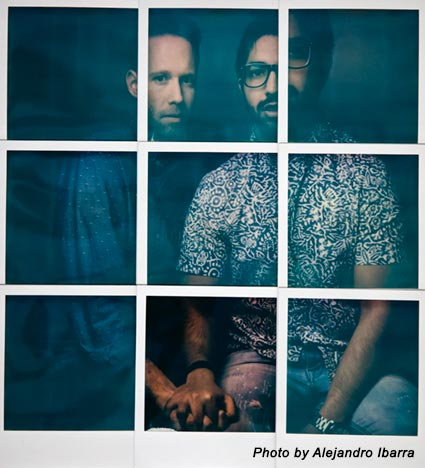 a photo of a two men holding each others hands in a grid layout by alejandro ibarra