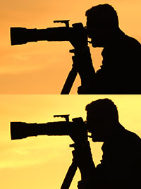 The silhouette of a NYFA photography school student