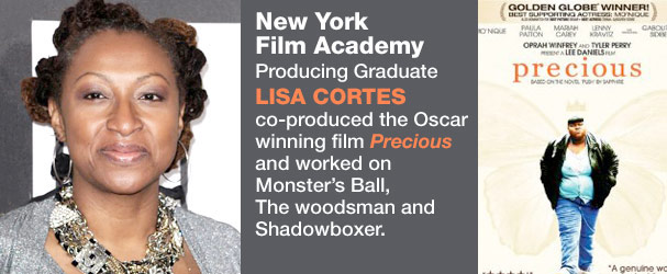 NYFA Producing Graduate Lisa Cortes co-produced the Oscar winning film 'Precious' and worked on Monster's Ball, The Woodsman and Shadowboxer.