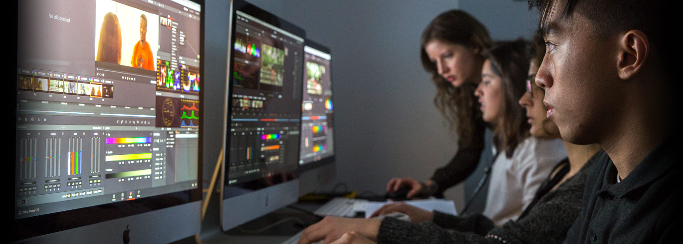 New York Film Academy digital editing students follow along as they are taught to use industry-standard software  in class.