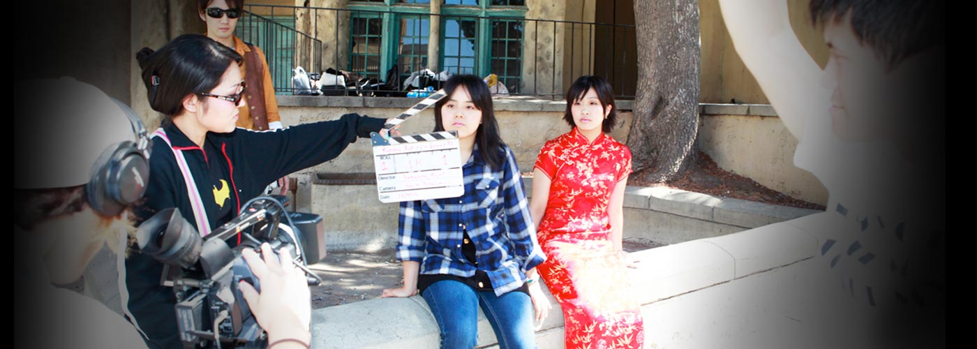 NYFA student uses clap board before filming a scene