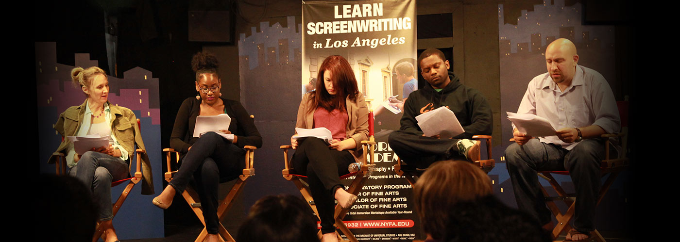 A panel reading NYFA screenwriting student work onstage at the Los Angeles campus.