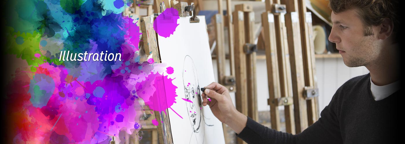 An illustration student works on canvas at NYFA