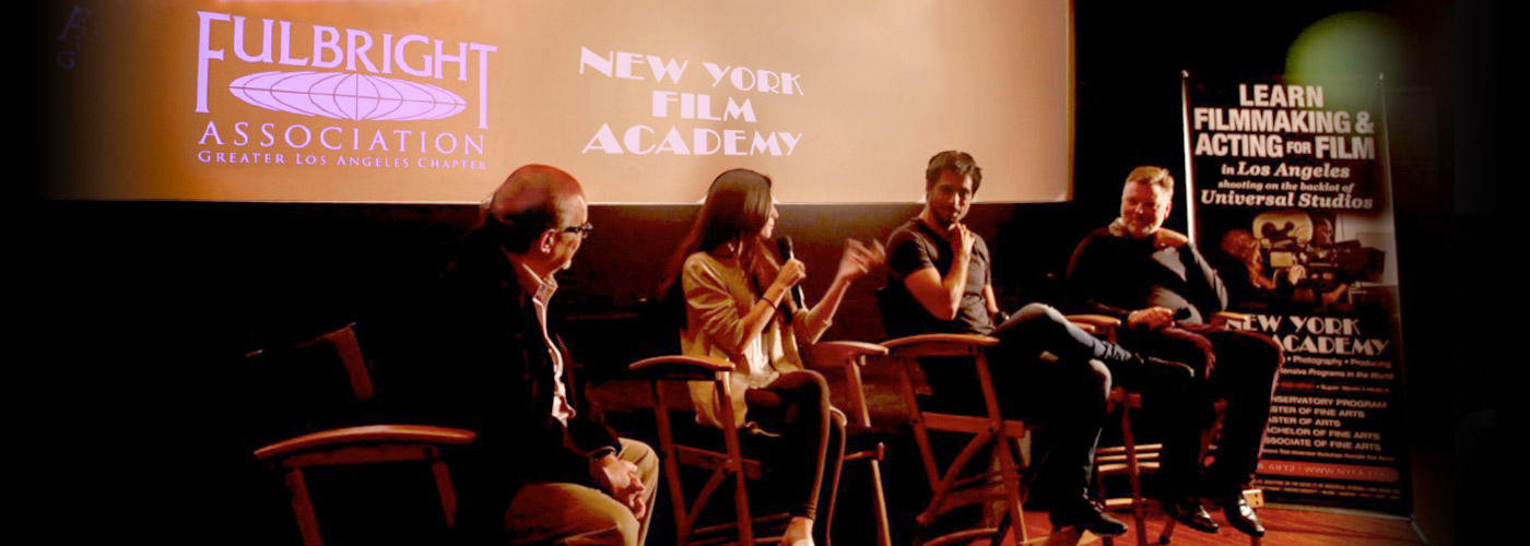 A panel of Fulbright scholars at a presentation at NYFA LA