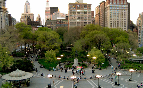 An aerial view of Union Square in NYC