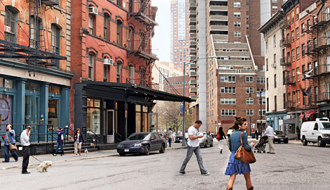 People walk on the street in Tribeca NYC