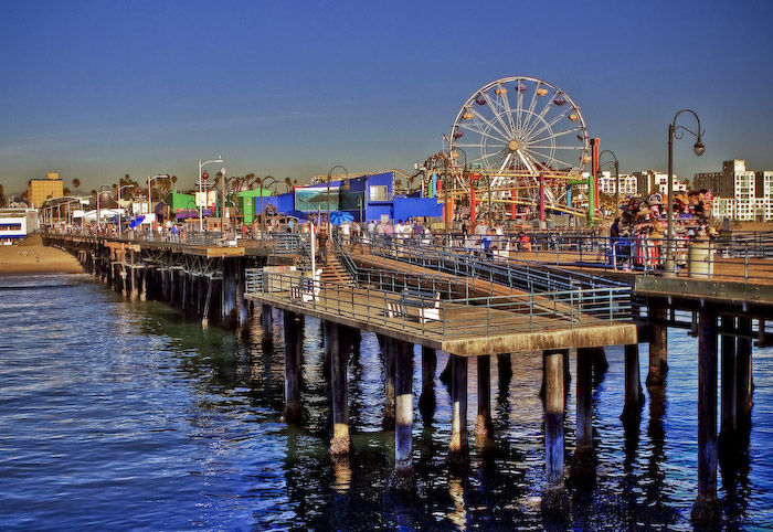 The ferris wheel and attractions at the Santa Monica Pier