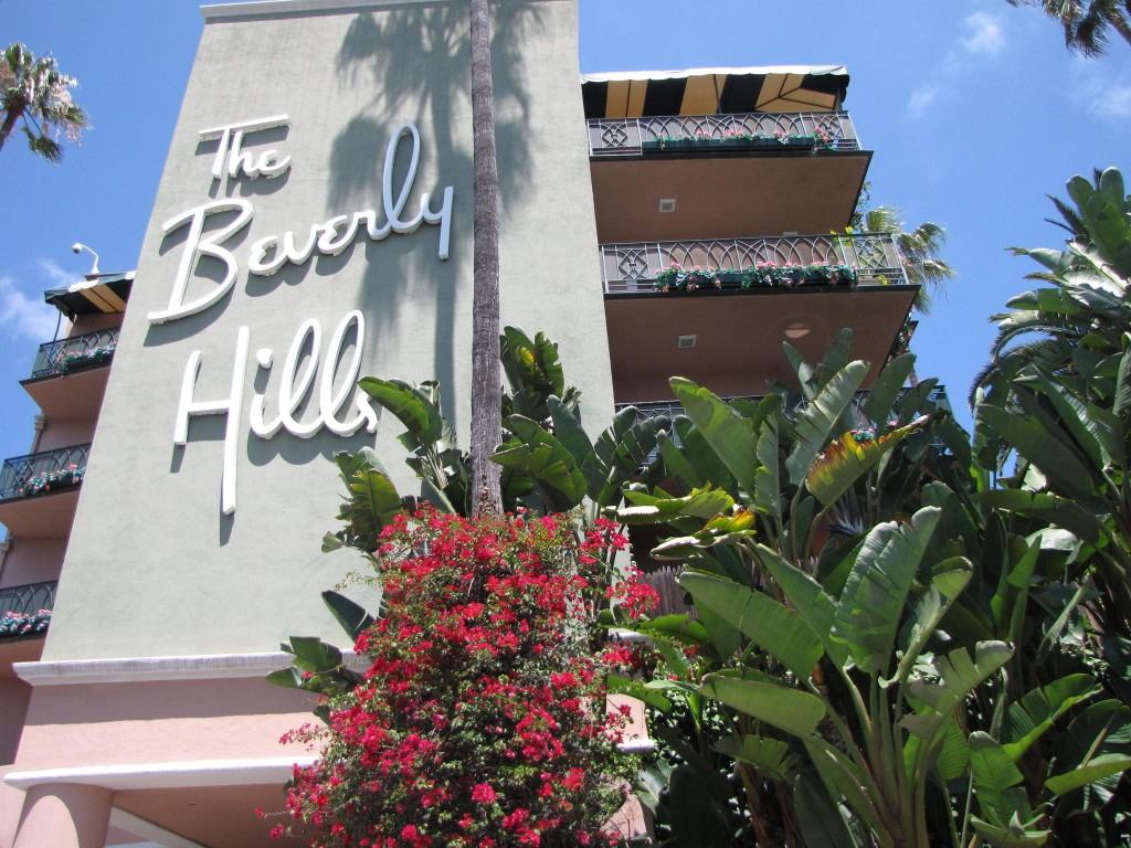 The iconic exterior of the Beverly Hills Hotel