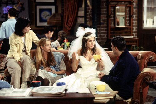 Monica, Rachel, Phoebe, and Ross in Central Perk