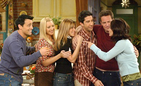 The cast of Friends embraces