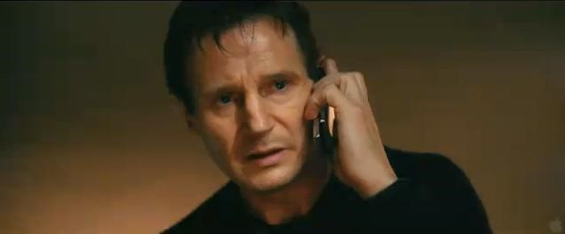 Liam Neeson on the phone in Taken