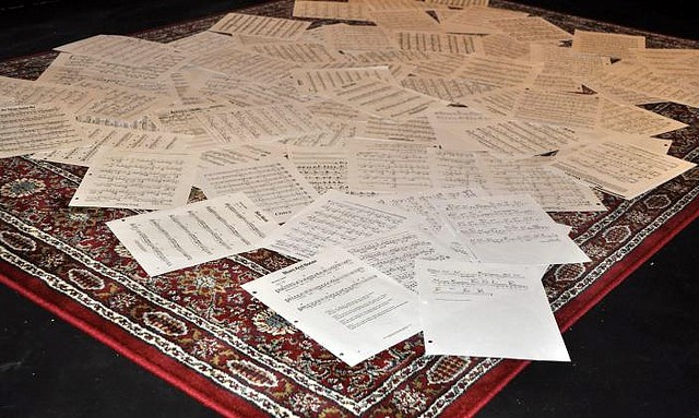 music sheets spread out