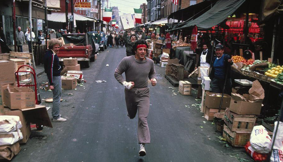 Rocky running through the streets of Philadelphia