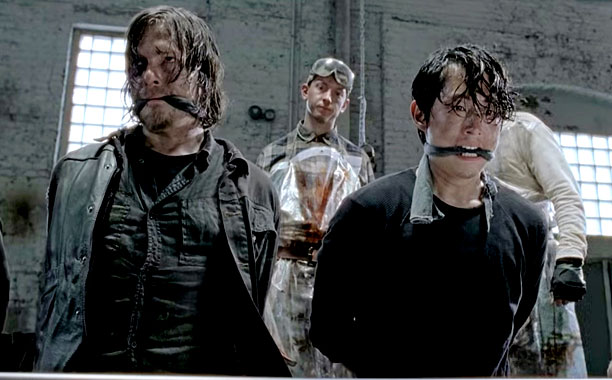 Daryl and Glen tied up in The Walking Dead