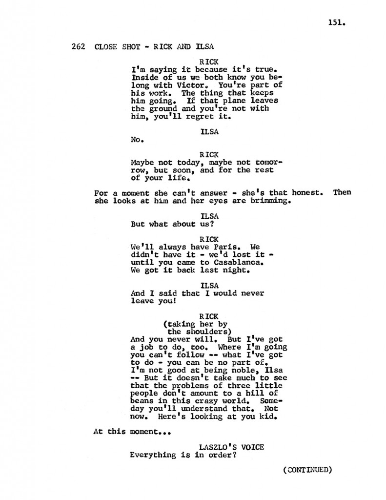 Page of Casablanca Screenplay